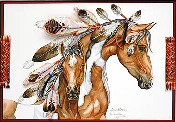 COPPER HORIZONTAL MARE AND COLT, FEATHER DRESSED 18x24.