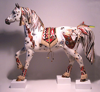 [ SOLD ]   COPPER ENCHANTMENT™ ORIGINAL FOR THE TRAIL OF PAINTED PONIES™ NATIVE ART OF HORSE PAINTING COMPETITION.