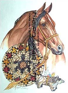 Horse With Fetish And Indian Basket.